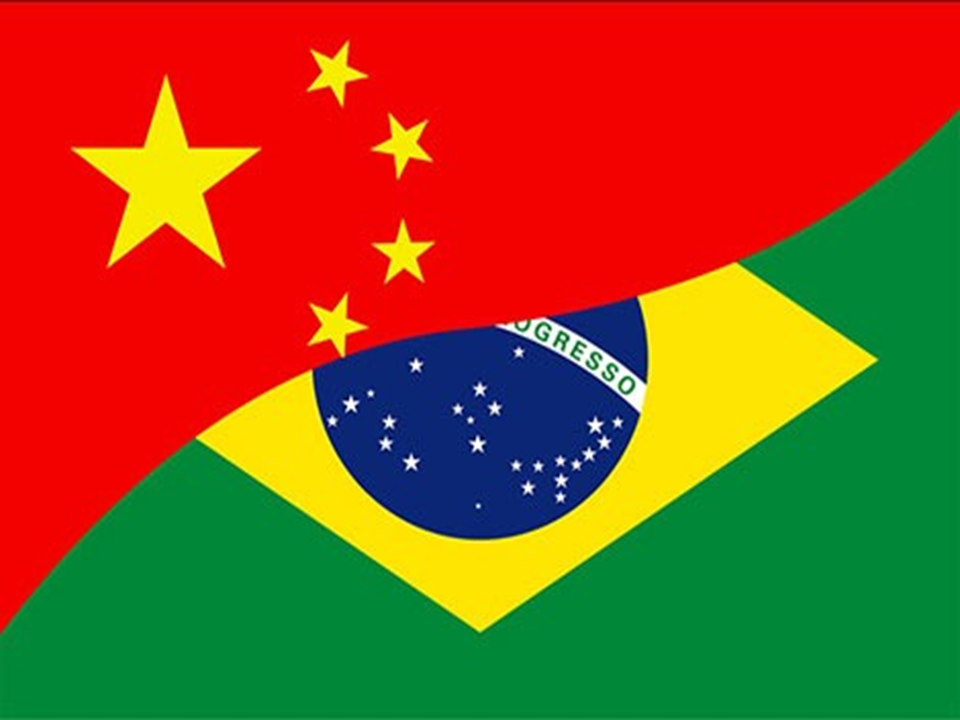 China and Brazil flags